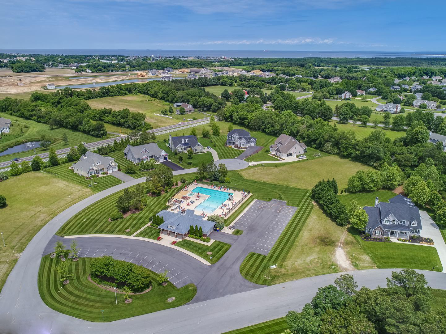 Streets aerial view  and community pool | Hawkseye, Lewes, Delaware HOA Home Owners Association